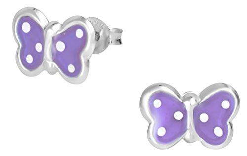 Plata de Ley 925hipoalergénico morado lunares mariposa Stud Pendientes para niñas (libre de níquel)