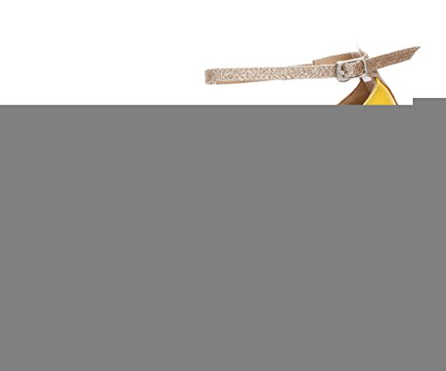 Minitoo QJ6183 femmes Peep Toe cuir PU latins Sandales écoles de danse Jaune - jaune