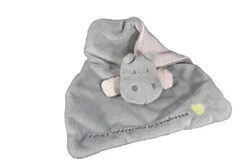 Obaibi/Okaidi - Doudou Obaibi Okaidi hippopotame plat gris pois pour t apprendre la tendresse (dessous rose) - 7500