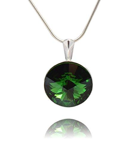 ark Moss Green* *RIVOLI* - Anhänger mit Silberkette aus 925 Silber mit original Swarovski® Elements - Halskette mit Schmucketui ()