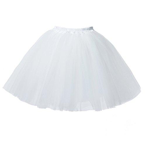 Honeystore Damen's Mini Tutu Ballett Mehrschichtige Rüschen Unterkleid Weiß