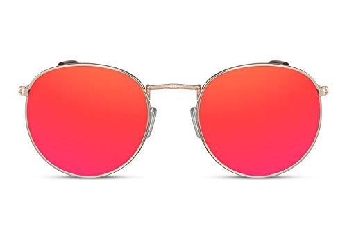 Cheapass Verspiegelt-e Sonnenbrille Rund-e Brille UV-400 Rot-Gold Hipster-Brille Metall Frauen Mädchen