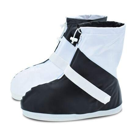 1 Paar Wiederverwendbare Reiseschuh-Abdeckung rutschfeste Regen-Aufladungen Silikon-Starke Sohle Zusätze imprägniern Fuß-Abnutzungs-Schuh-Schutz Black L (Boot-gummi-fuß-abdeckung)