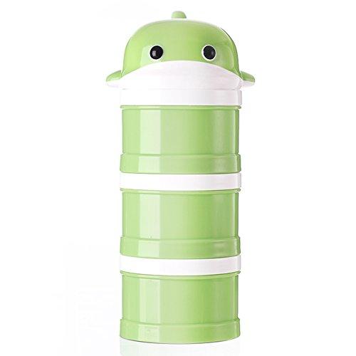 3 Cup Container (Formula Dispenser, Stapelbar Portable 3 Fächer Milchpulver Dispenser & Snack Container von Udaone-mit Griff & 3 Trichter Deckel / 360ML 0M+ (Grüner Wal))