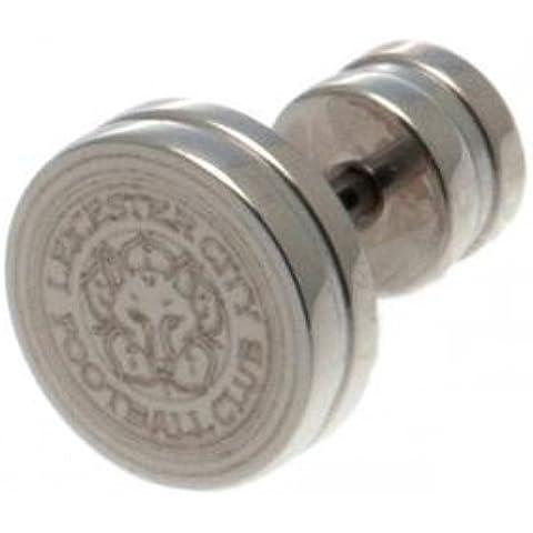 Leeds United FC orecchino a Bottone in Acciaio inox - acciaio inossidabile - circa 10 mm x 10 mm - in blister - su licenza ufficiale