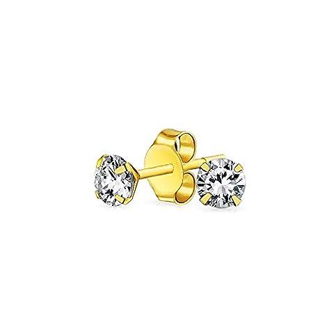 Bling Jewelry 14K Gold 3mm zircone cubique Petit Stud Earrings
