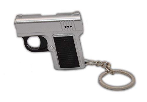 Zusammenhang Kostüm Arbeiten Im - jameitop®Schlüsselanhänger 2 Stück Polizei Waffe Silber kurz Knarre/Kunststoff Anhänger