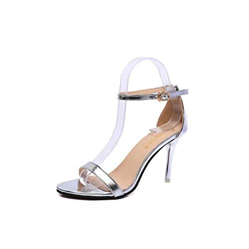 Summer Shoes Peep Toe Women Sandals Sweet Fashion Sandals Women Heels Thin Heel Pumps Princess High Heels Women Shoes Silver 8