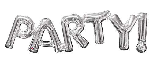 amscan 3309901 Folienballon SuperShape Wort Party, Silber, 83 x 22 cm