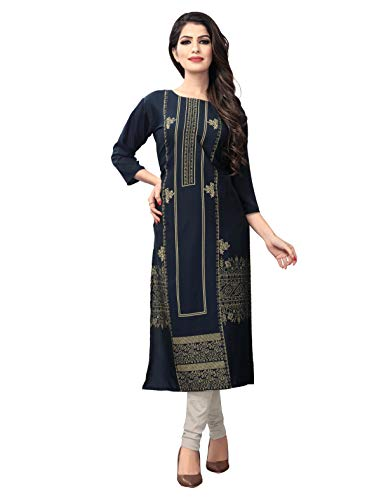 1 Stop Fashion Women's Blue-Coloured Crep Knee Long W Style Foil Print Kurtas/Kurti