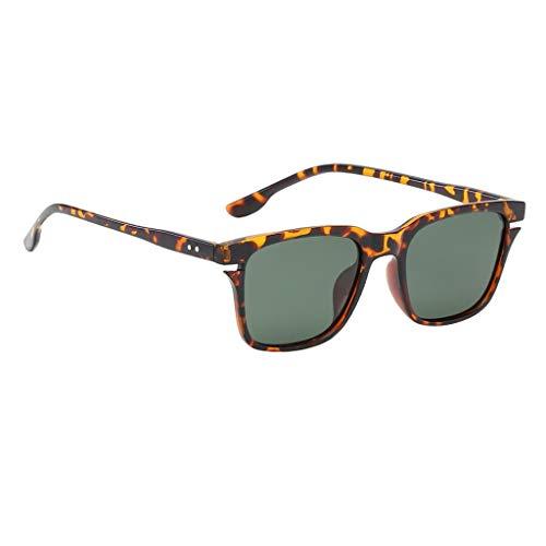 F Fityle Flache Sonnenbrille Rechteckig Katzenaugen Brille für Männer Frauen - Leopard Grün