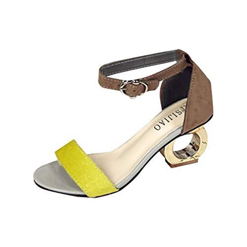 Sandalen Damen Sommer Mit Absatz Elegant Sandalette Besondere Ferse Design Offene Zehe Schuhe Taste Mode Fischmaul EIN Wort Schnalle Blockabsatz Sandalen(Gelb,36) - Peep-toe-taste
