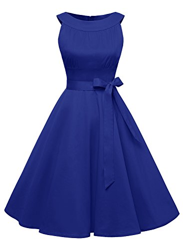 "Timormode Sommerkleider 50er Retro Damen Rockabilly Kurz Vintage Kleid Ã""rmellos Swing Kleid Ballkleid 10408 XL Royalblau"