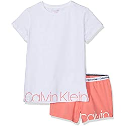 Calvin Klein Girl's Knit Pj Set (ss+Short) Pyjama, Pink (1White/1Georgiapeach 667), 152 (Size: 12-14)
