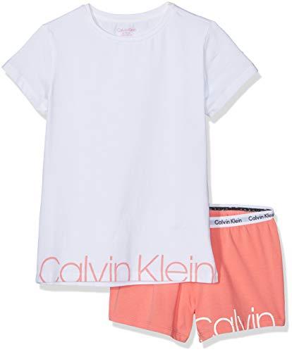 Calvin Klein Mädchen Knit PJ Set (SS+Short) Zweiteiliger Schlafanzug Rosa (1White/1Georgiapeach 667) 164 (Herstellergröße: 14-16) -