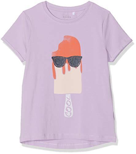NAME IT Mädchen NKFVIX SS TOP H T-Shirt, Violett (Lavendel Lavendula), 134 (Herstellergröße: 134-140) -