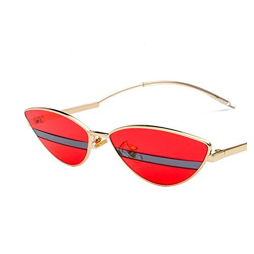 ShengEnn Sonnenbrille für Frauen-Foto zweifarbige Sonnenbrille Mode Avantgarde Farbabstimmung Brille Männer und Frauen Sonnenbrille Gold Frame rote Linse