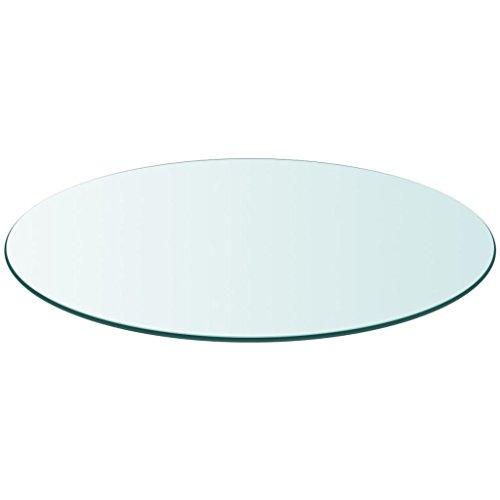 Vidaxl piano tavolo in vetro temperato rotondo 800 mm interni esterni ripiano