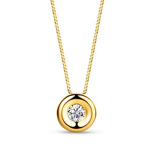 Orovi Damen Diamant Kette Gelbgold, Halskette mit Solitär rundem Anhänger 18 Karat (750) Gold und Diamant Brillanten 0.05 Ct, 42 cm lang