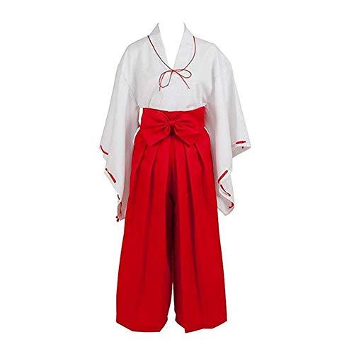 Kostüm Band Uniform - GGOODD Inuyasha Japanese Anime Kikyo Miko Kimono Cosplay Damen Kostüm Uniform Fasching Kleid Gesetzt,Weiß,M