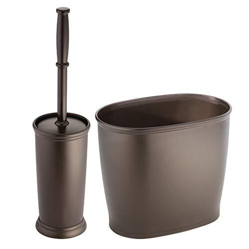 Mdesign set da 2 accessori per il bagno in plastica - set accessori bagno composto pattumiera bagno e scopino bagno - set da bagno elegante e discreto - bronzo