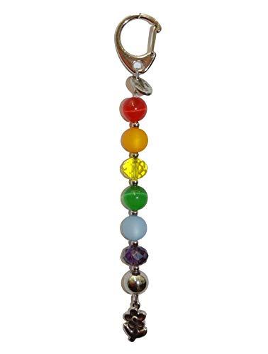 ARTemlos® Handmade Schlüsselanhänger/Taschenanhänger (AHRB) aus Edelstahl und Perlen in Regenbogen-Farben