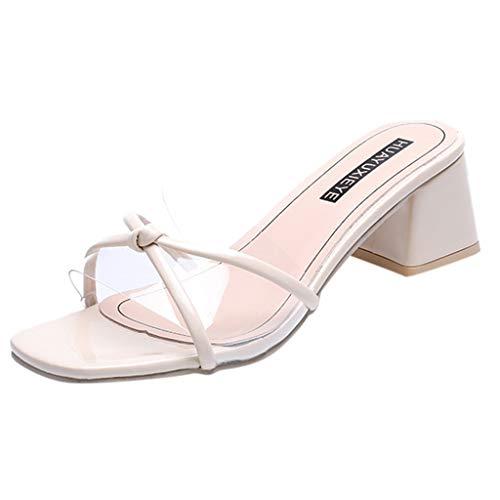 Makefortune-Schuhe Womens Ladies Mid High Block Heel Pantoletten Mode Prom Abend Slip on Slides Plain Toe Peep Toe Rutschfester Slipper Womens Prom Schuhe