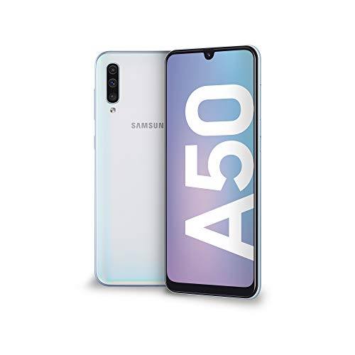 Samsung Galaxy A50 Display 6.4', 128 GB Espandibili, RAM 4 GB, Batteria 4500 mAh, 4G, Dual SIM Smartphone, Android 9 Pie, (2019) [Versione Italiana], Whit