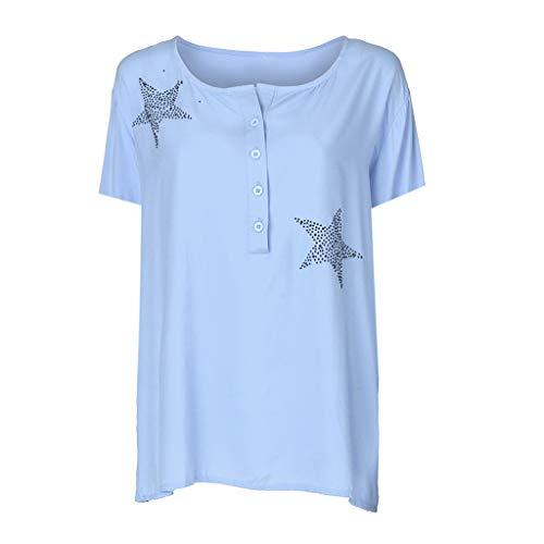 Camisa de Manga Corta de Botón de Mujer,Tallas Grandes Camisetas Mujer Manga Corta Camisas Mujer Verano Elegantes Estampado de Moda Casual para Mujer Fiesta Playa