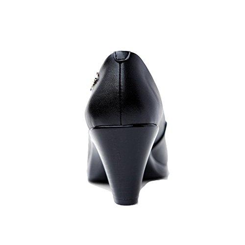 VogueZone009 Femme Cuir de Bœuf Mosaïque Tire Rond à Talon Correct Chaussures Légeres Noir