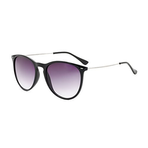 Royal Son UV Protected Round Sunglasses For Men And Women (WHAT3865|52|Black Lens)