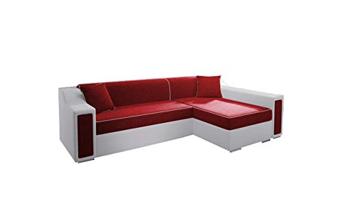 mb-moebel Ecksofa Sofa Eckcouch Couch mit Schlaffunktion und Bettkasten Ottomane L-Form Schlafsofa Bettsofa Polstergarnitur Horst Mini (Rot, Ecksofa Rechts)