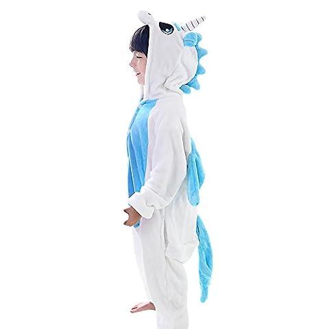 JT-Amigo Kinder Pyjama Strampler Schlafanzug Tier Kostüm für Halloween Karneval Fasching, Einhorn Blau Kostüm, Gr. 92/98 (Herstellergröße