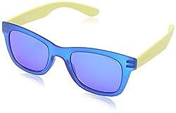 Police S1944 50U43B Wayfarer Sunglasses, Blue Yellow & Purple Mirrored, 50 mm