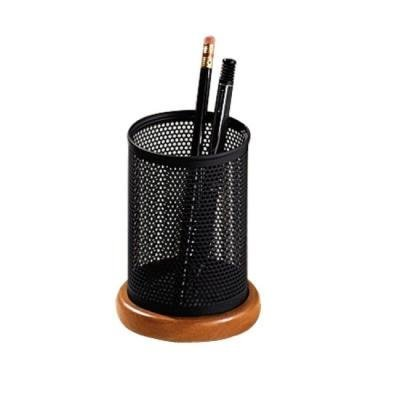 Distinctions Metal and Wood Pencil Cup, 3 1/2 dia. x 4 1/2, Black/Cherry (Schwarz-woods-magazin)