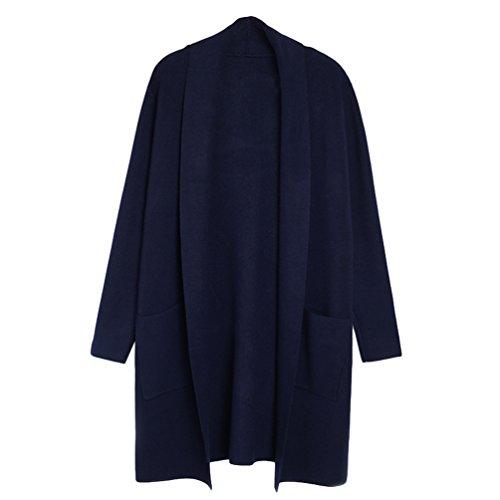 Yuncai Moda Tinta Unita Donna Lungo Cardigan di Maglia Tempo Libero Maniche Lunghe Maglione Cappotto Zaffiro