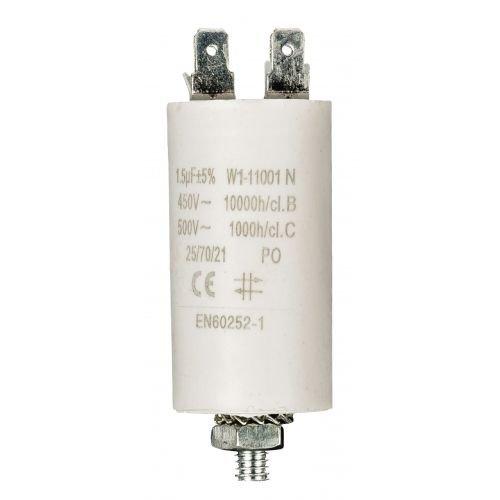 Condensador de arranque para motor electrico 1.5 uF 450 VAC, Cablepelado