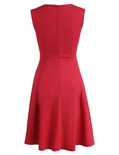 PU&PU Robe Aux femmes Patineuse Vintage / Soirée , Couleur Pleine Col Arrondi Mi-long Mélanges de Coton red-2xl