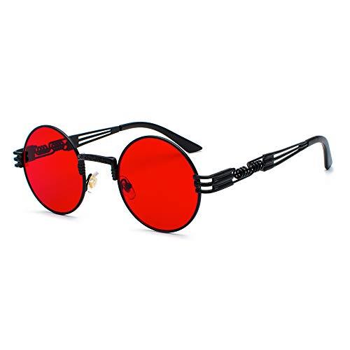 CVOO Retro Sonnenbrille,Steampunk Stil, runder Metallrahmen,für Frauen und Männer (Red black)