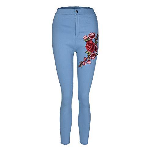 YWLINK Damen Mode Einfarbig Skinny Floral Applikationen Jeans Frauen Slim Hohe Taille Stretch Bleistift Hosen(3XL,Blau)