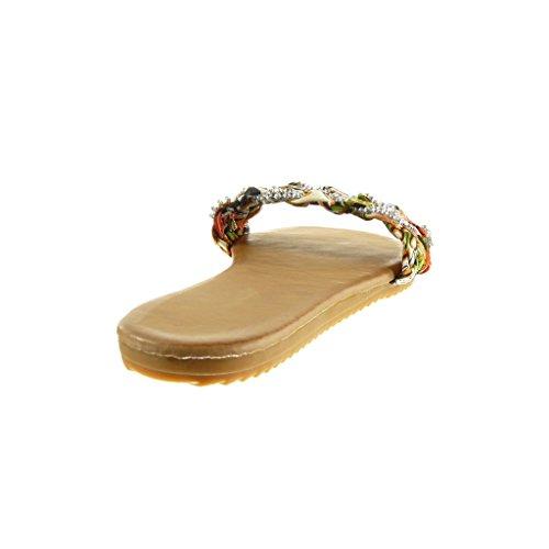 Angkorly Scarpe Moda Sandali Infradito Donna Tanga Intrecciato Strass Tacco Tacco Piatto 1.5 cm Beige