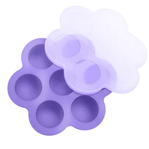 Busirde 7 Löcher Multifunktionale Silikon-Ei-Bites Moulds wiederverwendbarer Aufbewahrungsbehälter für Kinder Essen Tray