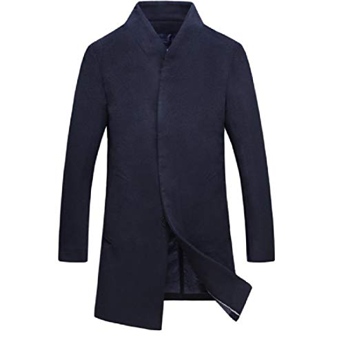 CuteRose Men Classic Overcoat Trench Coat Relaxed Fit Plus-Size PEA Coat Navy Blue M Navy Wool Toggle Coat