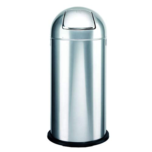Abfallsammler/Push Abfalleimer DR-Büro 1660 - feuerverzinkter Einsatz für 52 l - Maße (H/Durchmesser) 84x37 cm - verchromte Push Klappe, Farbe Büromöbel:Alco Silbergrau 36