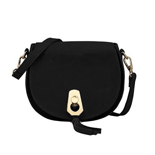 Fashion Pu-clutch, Handtaschen (CRAZYCHIC - Damen Kleine Umhängetasche - Schultertasche Citytasche Wildleder PU - Clutch Abendtasche Handtasche - Franse Quaste Messenger Bag - Elegante Taschen - Schwarz)