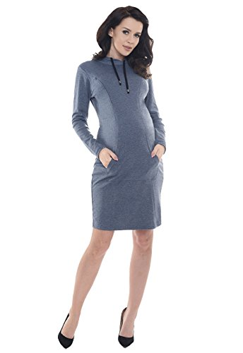 Purpless Maternity 2 in 1 Pregnancy and Nursing Hooded Dress with Pocket B6211 (12, Jeans Melange)
