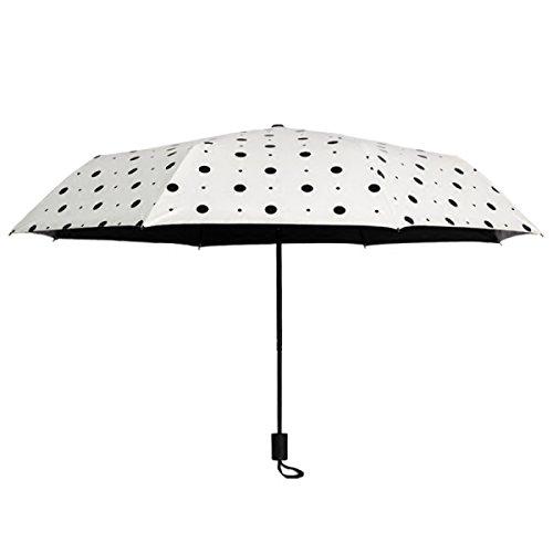 Polka Dot Weiblich Korea Falten Sonne Erwachsene Göttin Sonnig Regnerisch Dual Use Minimalistisch Regenschirm
