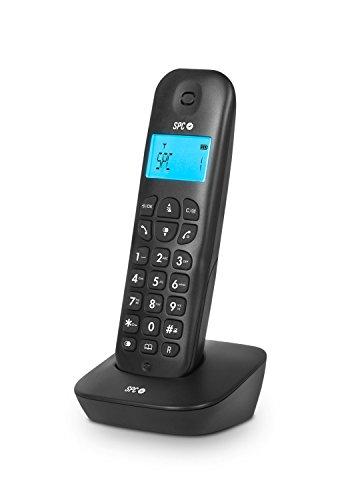 SPC Air - Teléfono inalámbrico (Agenda de 20 Nombres y números, identificador de Llamadas, Pantalla iluminada, identificador de Llamada en Espera) Negro
