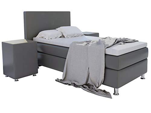 Home Collection24 GmbH Boxspringbett 90x200 cm mit Federkern-Matratze Topper in H3 Hotelbett Einzelbett aus hochwertigem Massivholz, Farbe:Grau