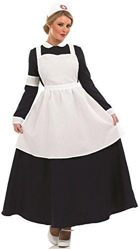 Fancy Me Damen 1. Weltkrieg WW2 Alt Viktorianisch Krankenschwester Florence Nightingale Kostüm Kleid Outfit UK 8-26 Übergröße - Schwarz/Weiß, 20-22